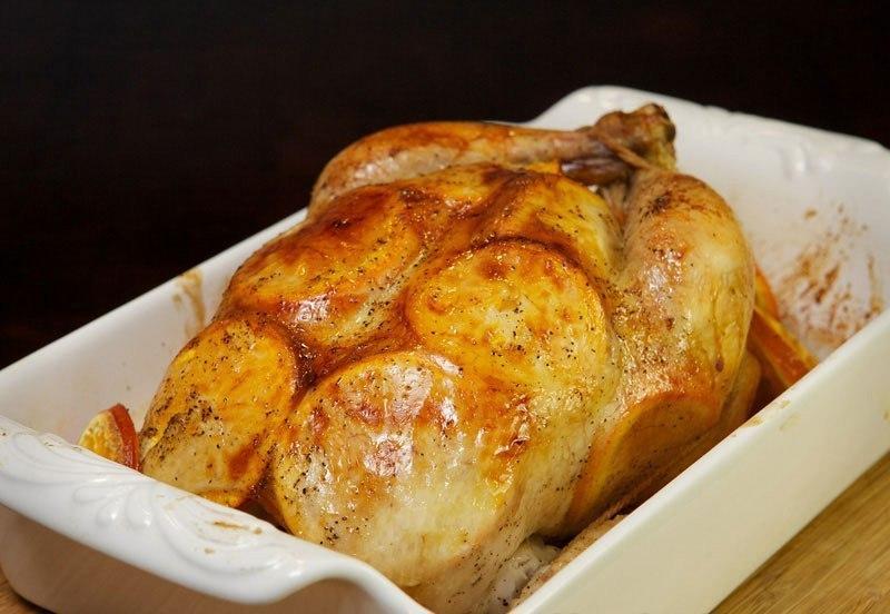 Рецепт запеченной курицы с апельсинами в духовке